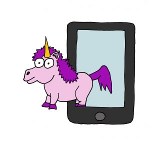 Cartoon of a unicorn stepping out of a phone to represent the notion of apps