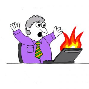 Business Continuity represented by a cartoon of a man sat in front of a laptop with flames coming out of the screen