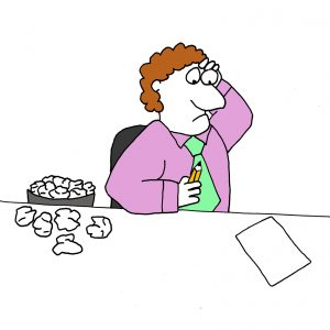Content Creation shown using a cartoon of a man with writer's block