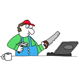 Ongoing Maintenance represented by a cartoon of a man approaching a laptop with a saw and hammer