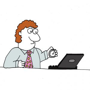 Performance Tuning shown by a cartoon of a man with a stopwatch in front of a laptop