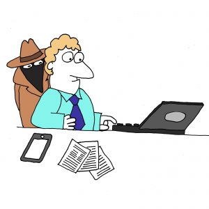 Website security represented by a cartoon of a spy stood behind a man working at a laptop