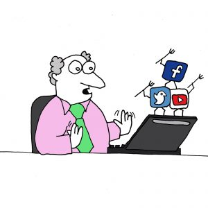 Social Media Assistance represented by a cartoon of a man being threatened by social media icons standing on his laptop waving tridents