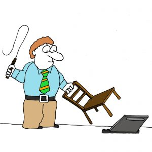 Cartoon of a man taming a laptop with a chair and a whip to illustrate being in control of technology