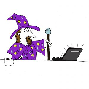 Website design represented by a cartoon of a wizard stood in front of a laptop